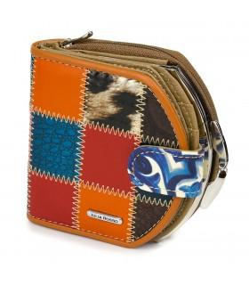 JULIA ROSSO patchwork portfel SKÓRZANY RFiD pudełko M99