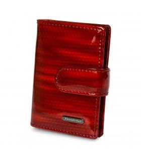 Czerwone damskie etui skórzane RFID eleganckie na karty Z16