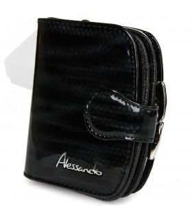 Czarny damski portfel skórzany RFID elegancki z pudełkiem Z15