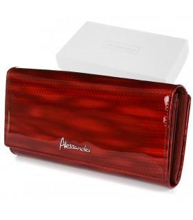 Czerwony portfel damski skórzany poziomy elegancki RFID Z20