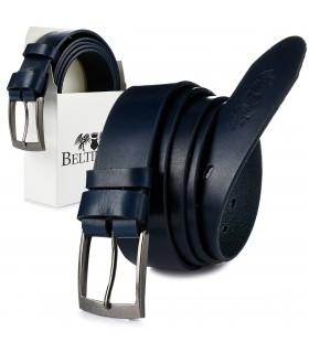 Beltimore skórzany licowy pasek męski granatowy premium E15