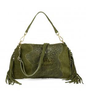 Zielona damska włoska skórzana torebka croco frędzel pozioma Z24
