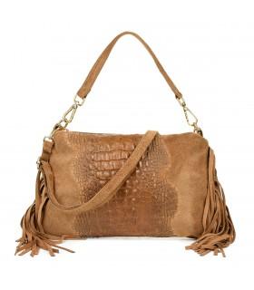 Beżowa damska włoska skórzana torebka croco frędzel pozioma Z24