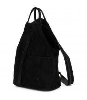 Czarny Vera Pelle włoski Plecak Skórzany damski mały T53