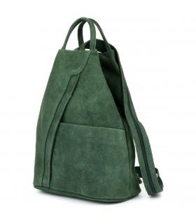 Ciemno- zielony Vera Pelle włoski Plecak Skórzany damski mały T53