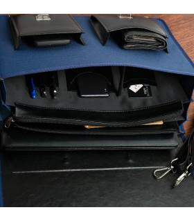 Beltimore luksusowa męska aktówka teczka torba duża na laptopa niebieska I36