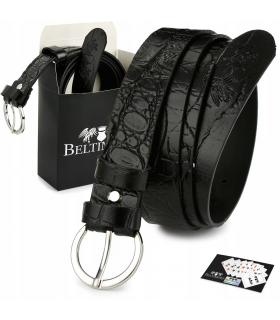 Skórzany pasek damski do spodni sukienki Beltimore czarny 3 cm W75
