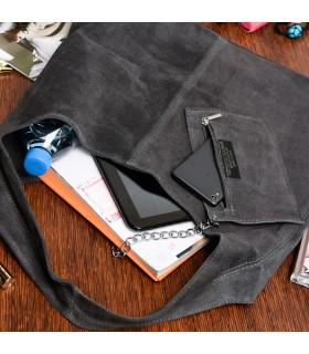 Szara zamszowa torebka damska skórzana na ramię z saszetką N88