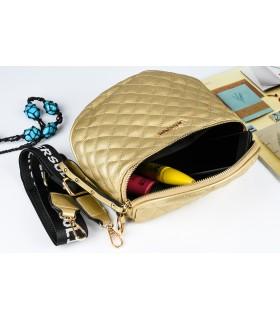 Złota Saszetka nerka przez ramię torba pikowana modna C20