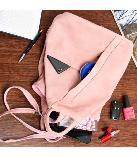 Pudrowo-różowa Vera Pelle włoski Plecak Skórzany damski mały T53