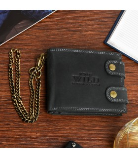 Czarny Męski portfel skóra naturalna łańcuch nubuk RFID Z48