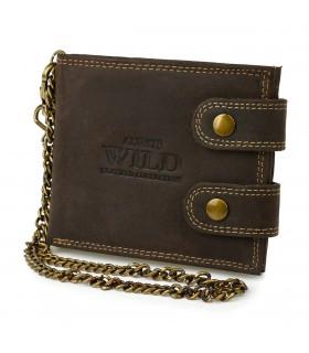 Brązowy Męski portfel skóra naturalna łańcuch nubuk RFID Z49