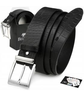 Czarny Beltimore skórzany pasek do spodni klasyczny licowy W86