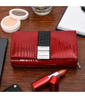 Czerwony Portfel damski czerwony skórzany RFID pudełko duży G34