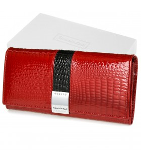 Portfel damski czerwony skórzany RFID pudełko Alessandro G30