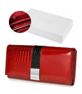 Portfel damski czerwony skórzany RFID pudełko Alessandro G38
