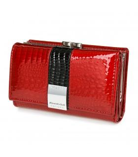 Portfel damski czerwony skórzany RFID pudełko Alessandro G39