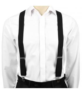 Szelki do spodni męskie eleganckie mocne V czarne SZ2