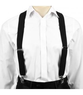 Szelki do spodni męskie eleganckie mocne V czarne SZ3