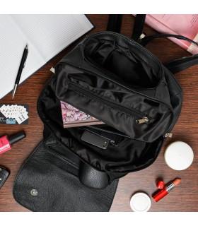 Czarny Beltimore plecak skórzany damski z klapą solidny S41