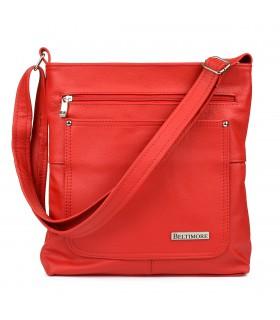 Czerwony Beltimore duża damska torebka skórzana A4 pojemna 974