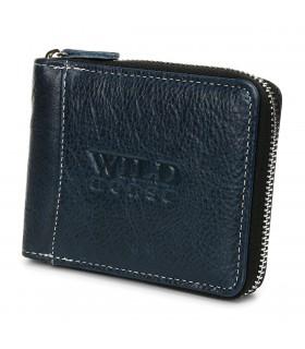 Granatowy Portfel skórzany zasuwany duży Wild RFiD H01