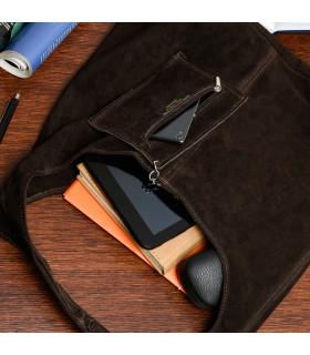 Ciemno-Brązowa zamszowa torebka damska skórzana na ramię z saszetką N88