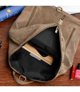 Taupe Włoski Stylowy Plecak Damski Skórzany Zamsz A4 W14