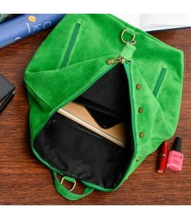 Zielony Włoski Stylowy Plecak Damski Skórzany Zamsz A4 W14