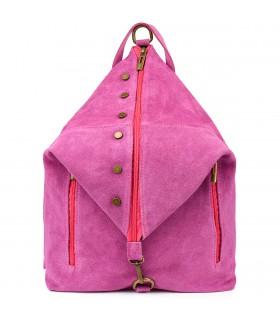Purpurowy Włoski Stylowy Plecak Damski Skórzany Zamsz A4 W14