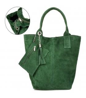 Włoska Torebka Skórzana Zamszowa A4 Shopperka zielona T49