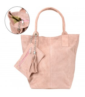 Pudrowo-różowa włoska torebka skórzana zamszowa A4 shopperka T49