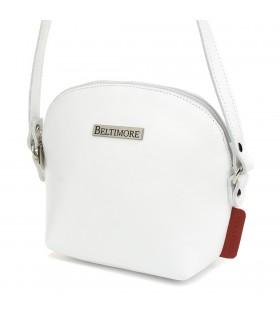 Biała mała damska torebka skórzana pasek Beltimore N22