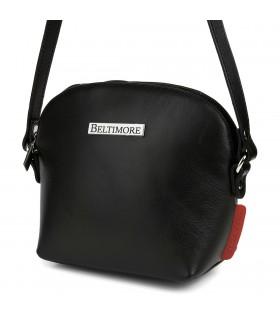 Czarna mała damska torebka skórzana pasek Beltimore N22