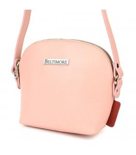 Pudrowo- różowa mała damska torebka skórzana pasek Beltimore N22