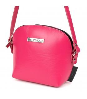 Różowa mała damska torebka skórzana pasek Beltimore N22