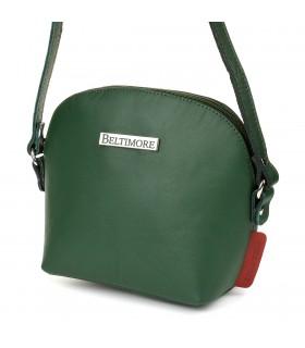Zielona mała damska torebka skórzana pasek Beltimore N22