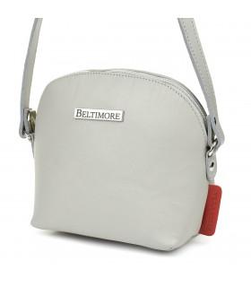 Szara mała damska torebka skórzana pasek Beltimore N22