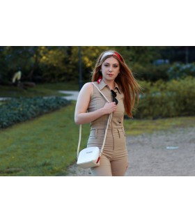 Kremowa mała damska torebka skórzana pasek Beltimore N22