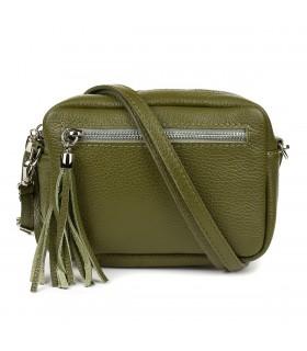 Oliwkowa torebka damska listonoszka skórzana z frędzlem modna C74