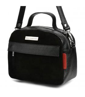 Czarna torebka damska skórzana kuferek 2komory Beltimore S80