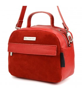Czerwona torebka damska skórzana kuferek 2komory Beltimore S80