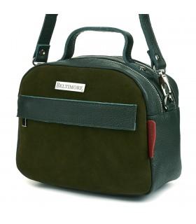 Zielona torebka damska skórzana kuferek 2komory Beltimore S80