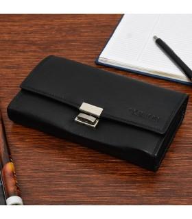 Czarny duży portfel kelnerski skórzany pojemny C02