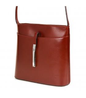 Bordowa mała torebka skórzana listonoszka Vera Pelle 467