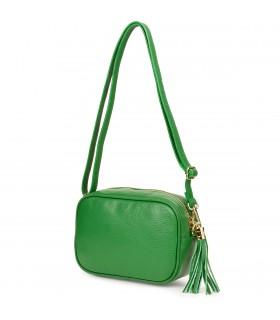 Zielona mała damska listonoszka z frędzlem przewieszka z włoskiej naturalnej skóry licowej P14