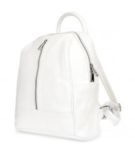 Biały Włoski Plecak Skórzany A4 damski pojemny solidny C78