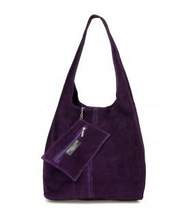 Śliwka zamszowa torebka damska skórzana na ramię z saszetką N88