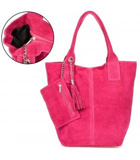 Różowa włoska torebka skórzana zamszowa A4 shopperka T49
