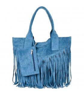 Niebieska Torebka damska skórzana zamszowa A4 frędzel duża L83